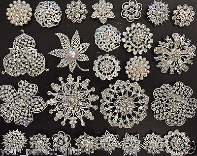 Wholesale Bulk Lot 12-76 Rhinestone Crystal Pearl Brooch Bridal Wedding Bouquet