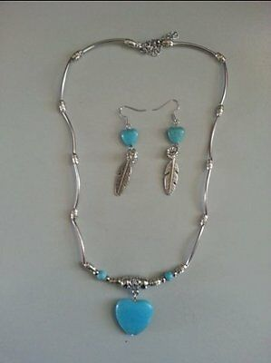 Turquoise Howlite Heart and Feather Necklace - Earring set
