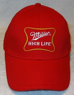 NEW MILLER HIGH LIFE Beer Brewing Hat Cap Red White Gold