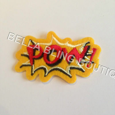 1 Embroidered Red Yellow Pow Boys Girls Iron On Sew On Patch Clothes Craft