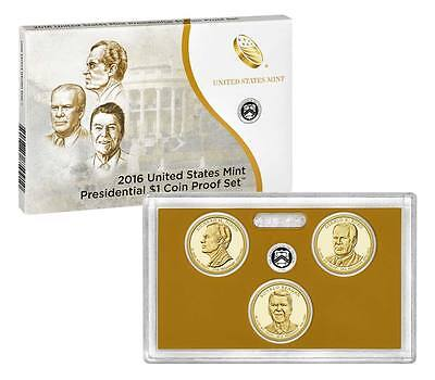 2016 S Clad Proof Set PRESIDENTIAL President Dollar 3 Coins w/ coa