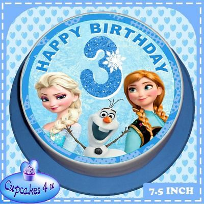 Frozen Precut Edible Icing Sheet 7.5 Inch Cake Topper 3Rd Birthday  Age 3 6014
