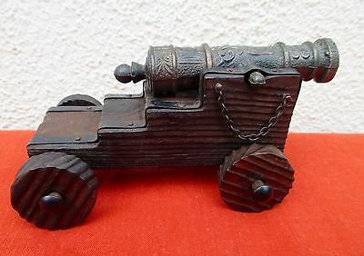 """Vintage Spanish Galleon Toy Cannon - Wood And Cast Iron - 5 1/2"""""""