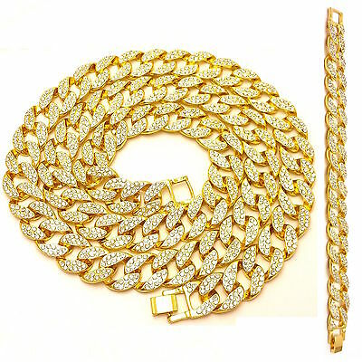 Iced Out Lab Diamond Gold Finish Miami Cuban Link Chain 30'',36'' Necklace Set