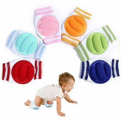 CUTE Baby Infant Toddler Crawling Safety Padded Knee Pads Blue Pink Yellow