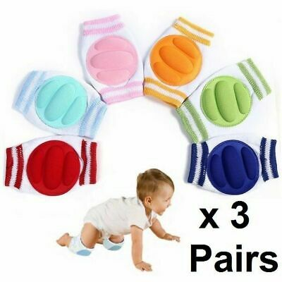 3 Pairs x Baby Infant Toddler Crawling Safety Padded Knee Pads Blue Pink Yellow