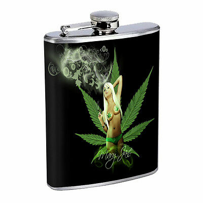 Stoner Girl Flask D2 8oz Hip Stainless Steel Drinking Whiskey 420 Leaf Weed Sexy
