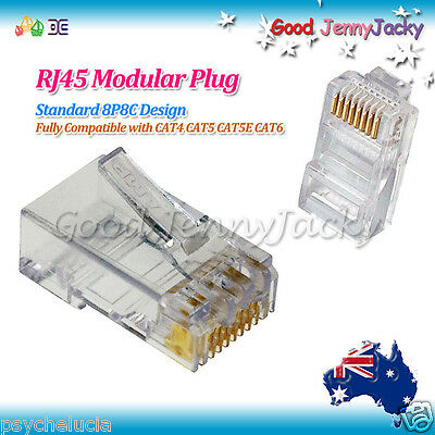 100 x Genuine USA AMP Gold-plated RJ45 CAT6 Modular Plugs Network Connector 8P8C