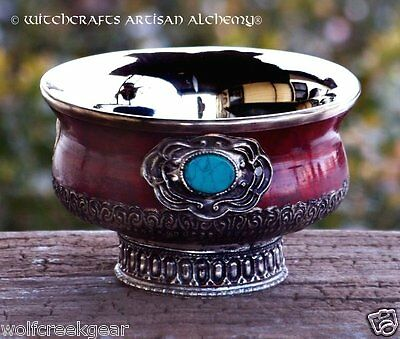 """Small 4"""" SORCERESS Ornate Gothic Altar Offering Bowl - Pagan Wicca Witchcraft"""