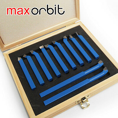 "11PC 8mm(5/16"") Mini Lathe Tool Set Carbide Tip Metal Cutting Turning Boring Bit"
