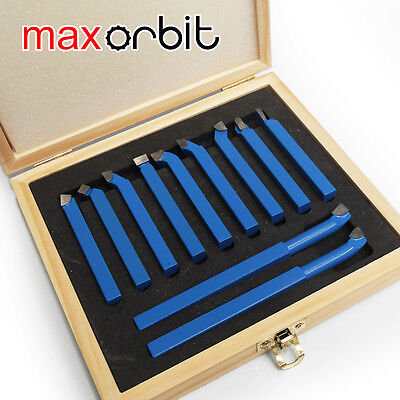 "11PC 12mm(1/2"") Mini Lathe Tool Set Carbide Tip Metal Cutting Turning Boring Bit"