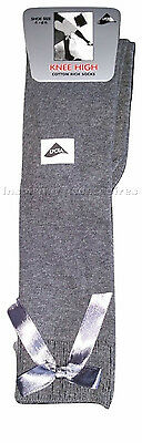 Girls Thick Warm Knee High Socks With Satin Bow Various Sizes And Colours