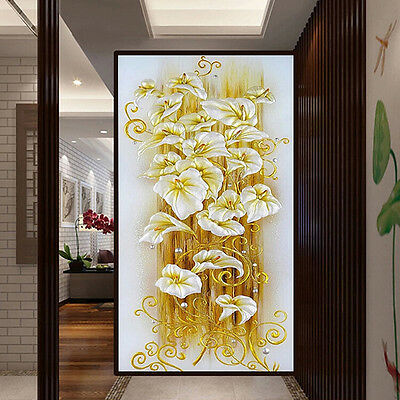 5D DIY Lily Flower Embroidery Diamond Painting 3D Cross Stitch Kits Home Decor