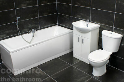 Drava Double Ended Bath Suite with 550mm Vanity Basin and Toilet Set Tap