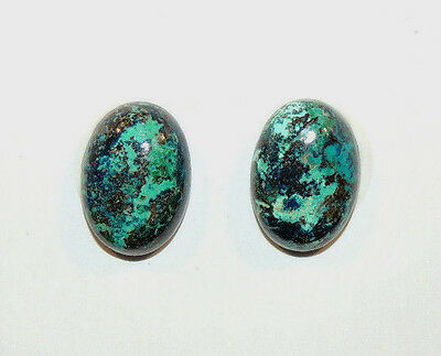 Chrysocolla Pair Cabochons 10x14mm with 5mm dome from Peru set of 2 (9977)
