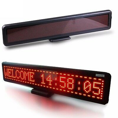 """Red Car Programmable LED Moving Scrolling Message Display Sign Board 21"""" x4"""" New"""