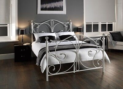 New Stunning Florence Crystal Metal Bed Frame - Black Or White In 3 Sizes