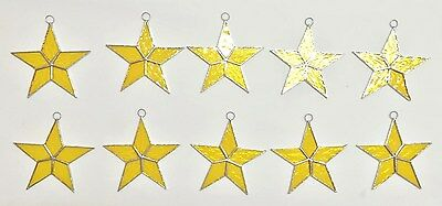 Lot of 10 HAND MADE STAINED GLASS STARS Iridescent YELLOW Suncatcher Ornaments!