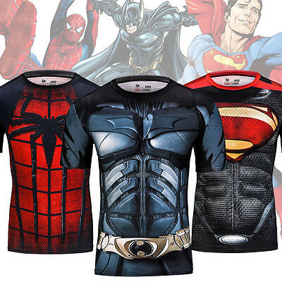 Stylish Mens 3D Quick Dry Compression Gym Tees Superhero Costume Sport T-shirts
