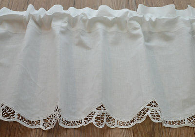 White French Country Battenburg Lace Kitchen Cafe Window Curtain Valance