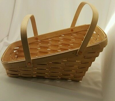 Longaberger 1998 Medium Vegetable Basket Classic Stain w/ Movable Handles EUC
