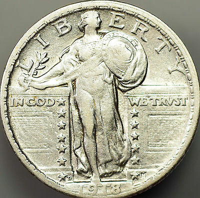 1918-D Standing Liberty Quarter Almost Uncirculated
