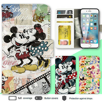 iPhone 7 7 Plus 6s 6 SE Case Disney Mickey Print Wallet Leather Cover For Apple