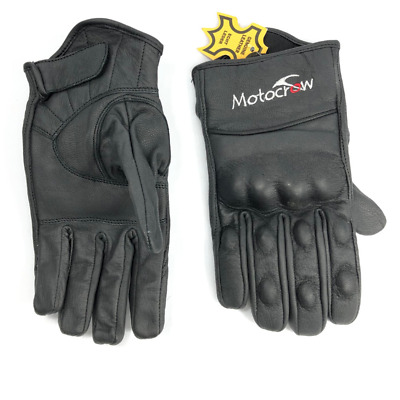 Motorbike Gloves Short Leather Knuckle Protection Motocrow Motorcycle New