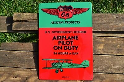 Phillips 66 Aviation Products Embossed Tin Metal Sign - Airplane Pilot Boeing 40