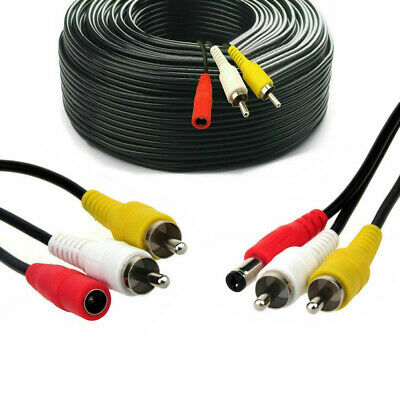 CCTV Security DVR Camera Phono RCA Video Audio AV DC Power Cable 5m to 50m Lead