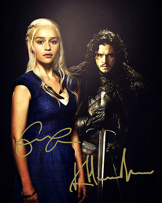 Emilia Clarke Kit Harington Game of Thrones S5 Signed Photo Autograph Reprint
