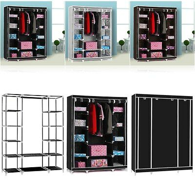 Double/Triple Canvas Wardrobe Cupboard Hanging Clothes Rail Storage Shelves