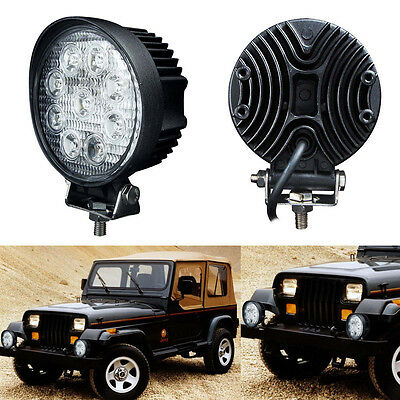2X 27W 4 inch Round Spot  LED Work Light Offroad Boat 4x4 ATV Truck Fog Reverse