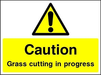 Site Safety Signs - ' Caution grass cutting in progress' -4mm Correx - 600x400mm