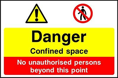 Site Safety Signs - 'Danger confined space' - 4mm Correx - 600x400mm