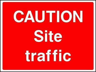 Site Safety Signs - 'Caution Site Traffic' - 4mm Correx - 600x400mm
