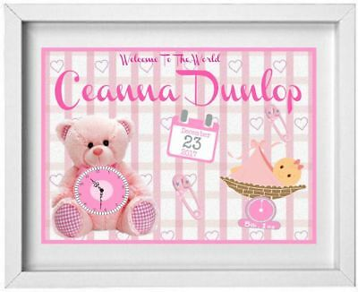 Baby Girl Nursery Picture | Gift | Personalised | Present New Born Baby |(NP001)