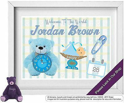 BABY BOY Personalised Picture New Birth Christening Nursery Picture (NP002)