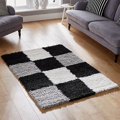 Large Extra Large Small Black Grey Rug - 5Cm High Pile Box Pattern Shaggy Rugs