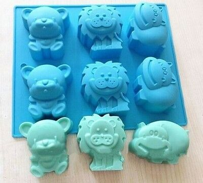 6 Animal Bear Lion Hippo Silicone Cake Soap Mould Polymer clay Jelly DIY Mold