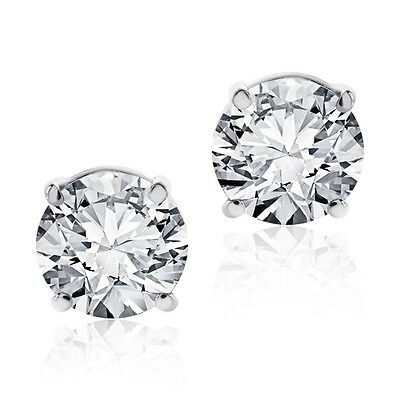 .50 Ct Round Brilliant Cut Screwback Basket Stud Earrings Solid 14K White Gold