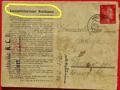 Jewish HOLOCAUST 1944 Concentration camp Mauthausen letter