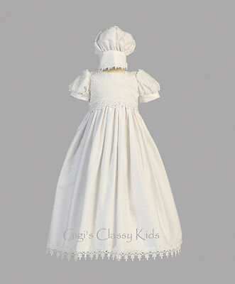 New Baby Girls White Cotton Dress Gown Christening Baptism 2 Pc Bonnet Kayla