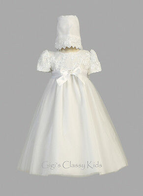 Baby Flower Girls White Dress 2 Pc Embroidered Gown Christening Baptism Bonnet