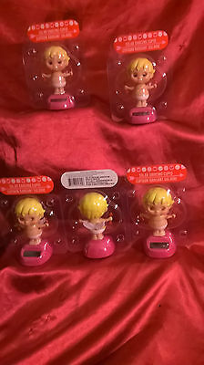"Lot Of 5 Solar-Powered Dancing Cupid Angels 4"" For Valentine's Day In Stock Now!"