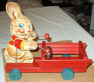 ****cool Vintage 1949 Fisher Price Bunny Bell Drummer Easter Pull Toy****