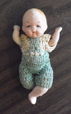 """Vintage 1940s Occupied Japan Jointed Bisque Boy Character Doll 3 1/4"""" Tall"""