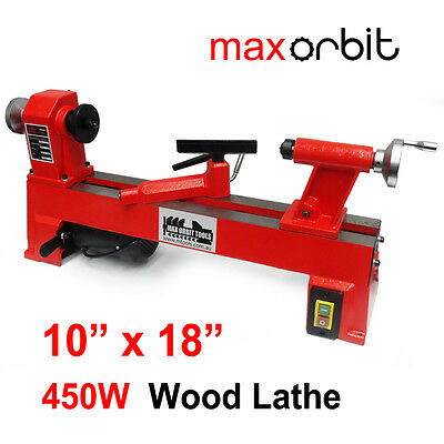"10""x18"" Wood Lathe 450W Cast Iron 250x450mm 5 Speeds Workshop Bench Woodworking"
