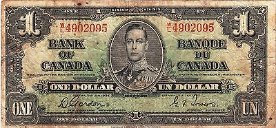 CANADA / 1 DOLLAR, 1937 SERIES No D/B 1296794