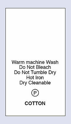 Cotton Warm Machine Wash Sewing Washing Care Labels 4 Pack Sizes